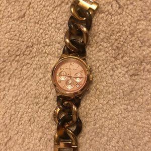 Michael Kors Tortoise Chain Link Watch | Rose Gold